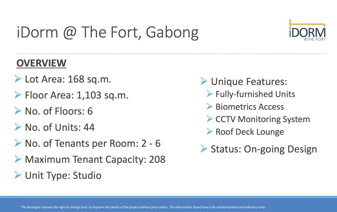 iDorm at The Fort Gabong Details