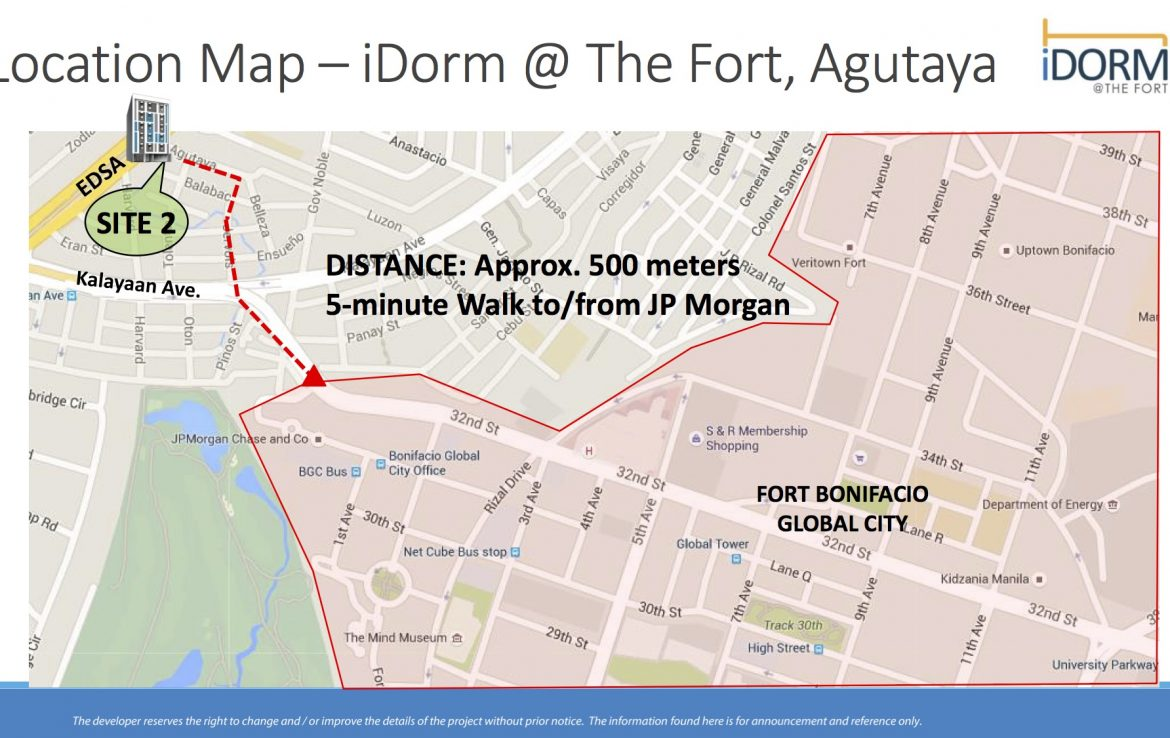 iDorm at the Fort Agutaya Map
