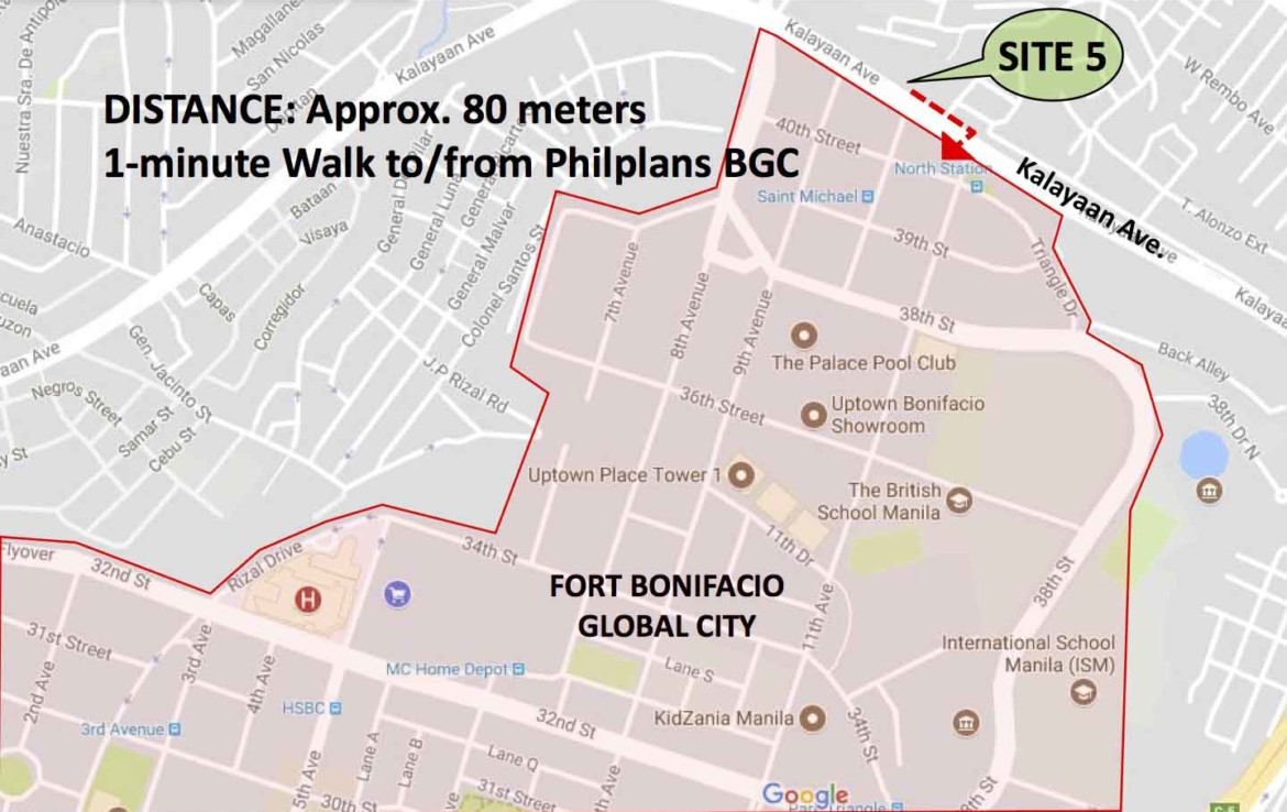 Uptown, Dormitory Building For Sale, Makati City map