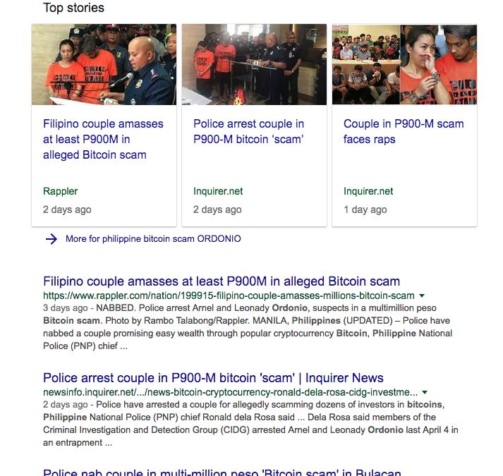 Philippine Bitcoin Scam Ordonio