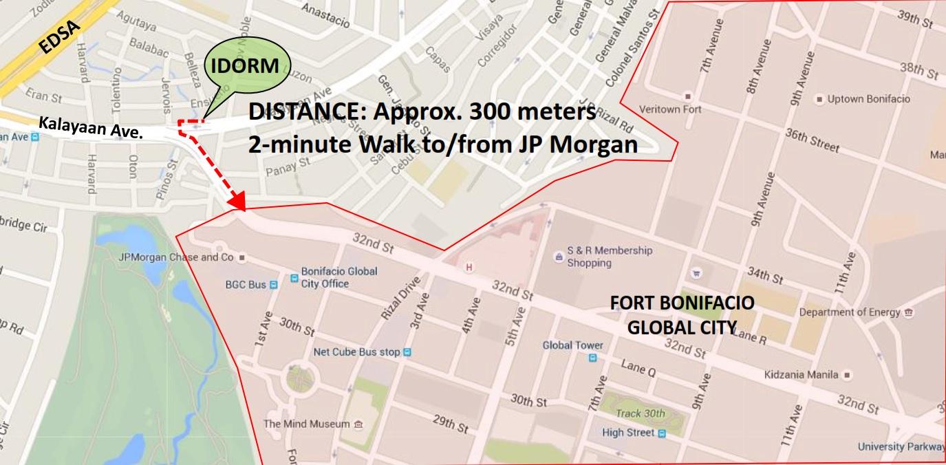 Kalayaan 2 Pre-Selling Dormitory Building at Makati City across BGC-Map