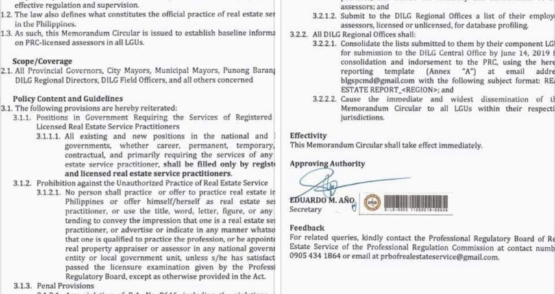 DILG AGAINST ILLEGAL REAL ESTATE PRACTITIONERS IN GOV'T – MEMO CIR. NO. 2019-86