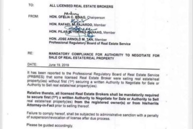 PRC MANDATORY COMPLIANCE FOR AUTHORITY TO NEGOTIATE FOR SALE REAL ESTATE PROPERTY
