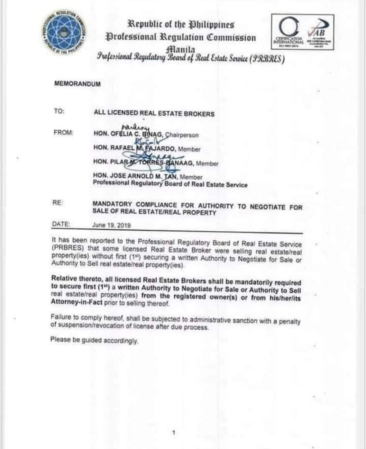 MANDATORY COMPLIANCE FOR AUTHORITY TO NEGOTIATE FOR SALE OF REAL ESTATE/REAL PROPERTY