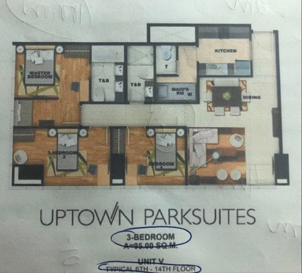 3br condo for sale uptown parksuites 25m-1